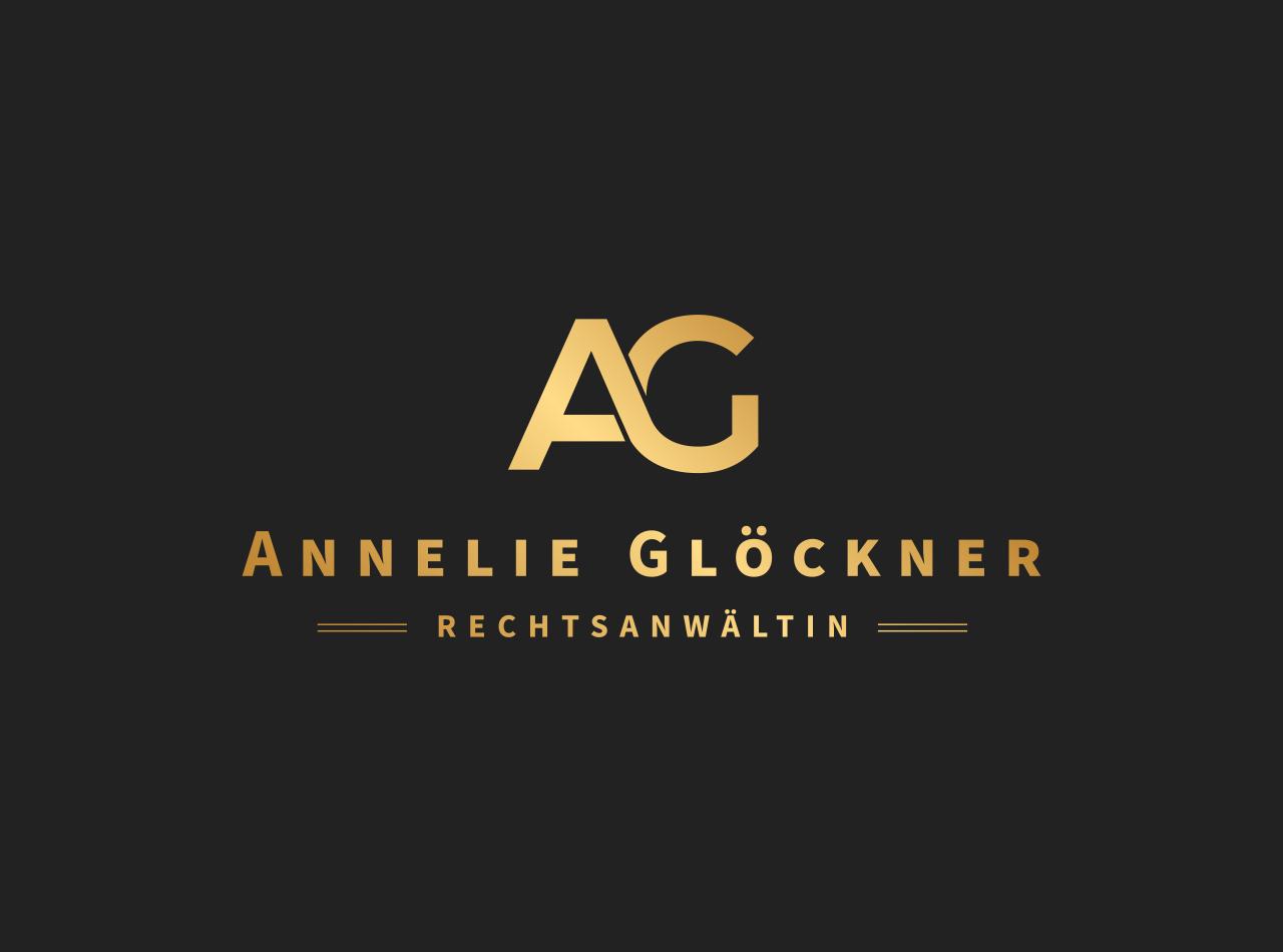 Logo Design, Gold auf dunklem Braun für Rechtsanwältin Annelie Glöckner