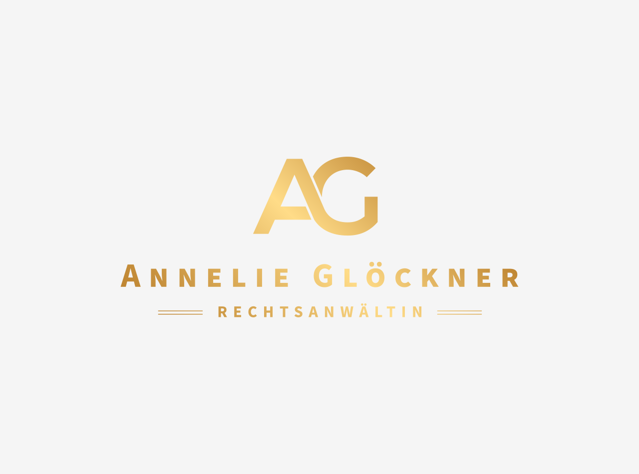 Logo Design, Gold auf hellem Grau für Rechtsanwältin Annelie Glöckner