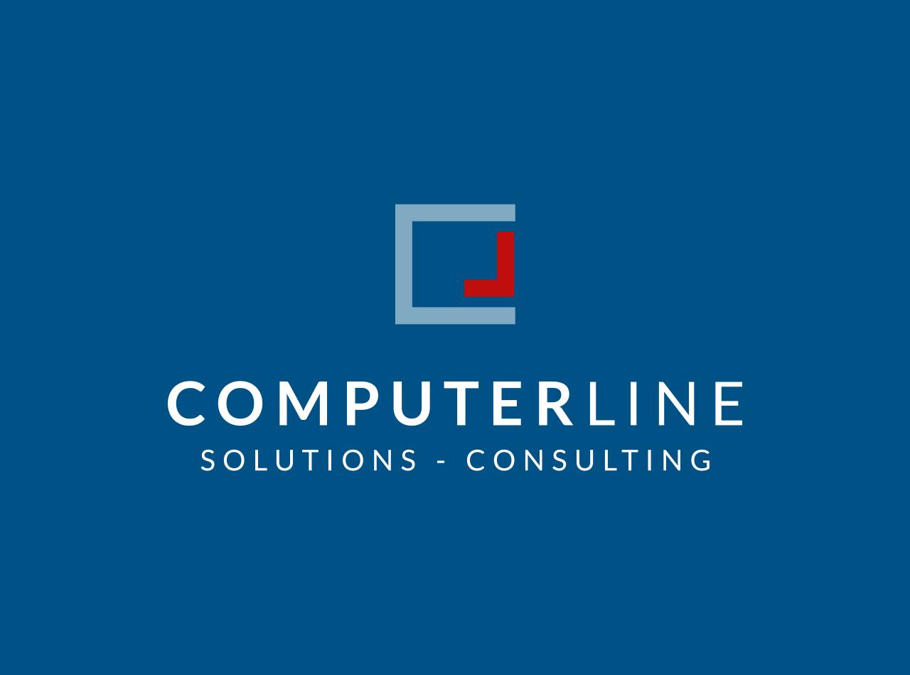 Logo Design für die ComperLine GmbH, auf blauem Fond