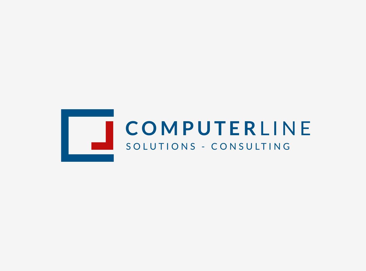 Logo Design für die ComperLine GmbH, linksbündige Version, auf hellem Fond