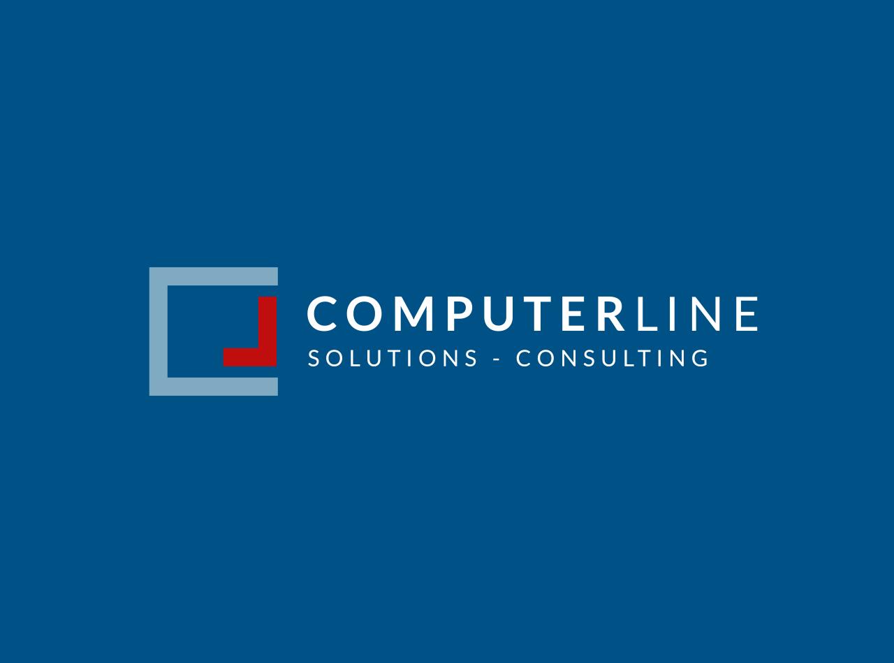 Logo Design für die ComperLine GmbH, linksbündige Version, auf blauem Fond
