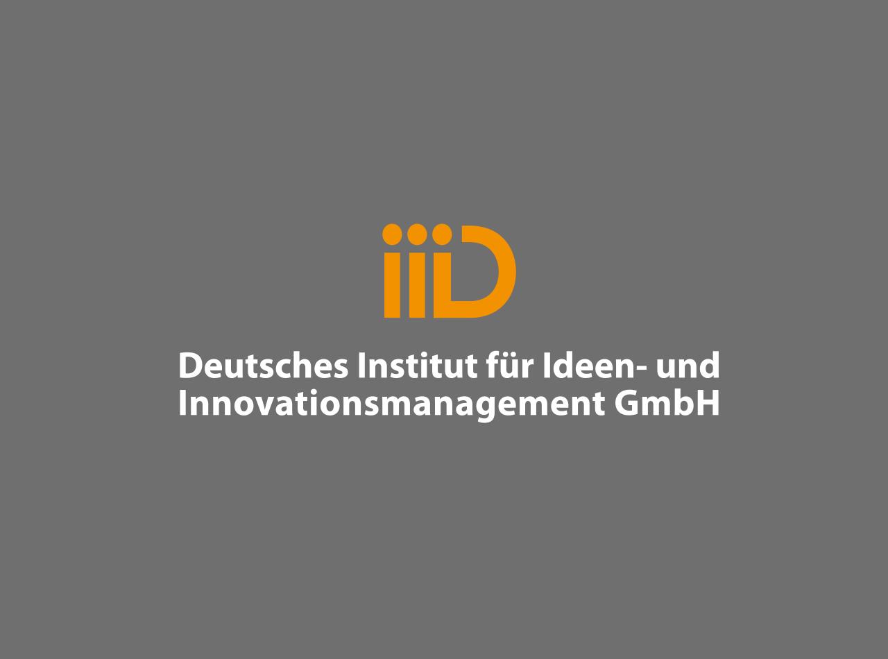 Logo Design, Initialen iiiD, auf grauem Fond, Deutsches Institut für Ideen- und Innovationsmanagement GmbH Deutschland