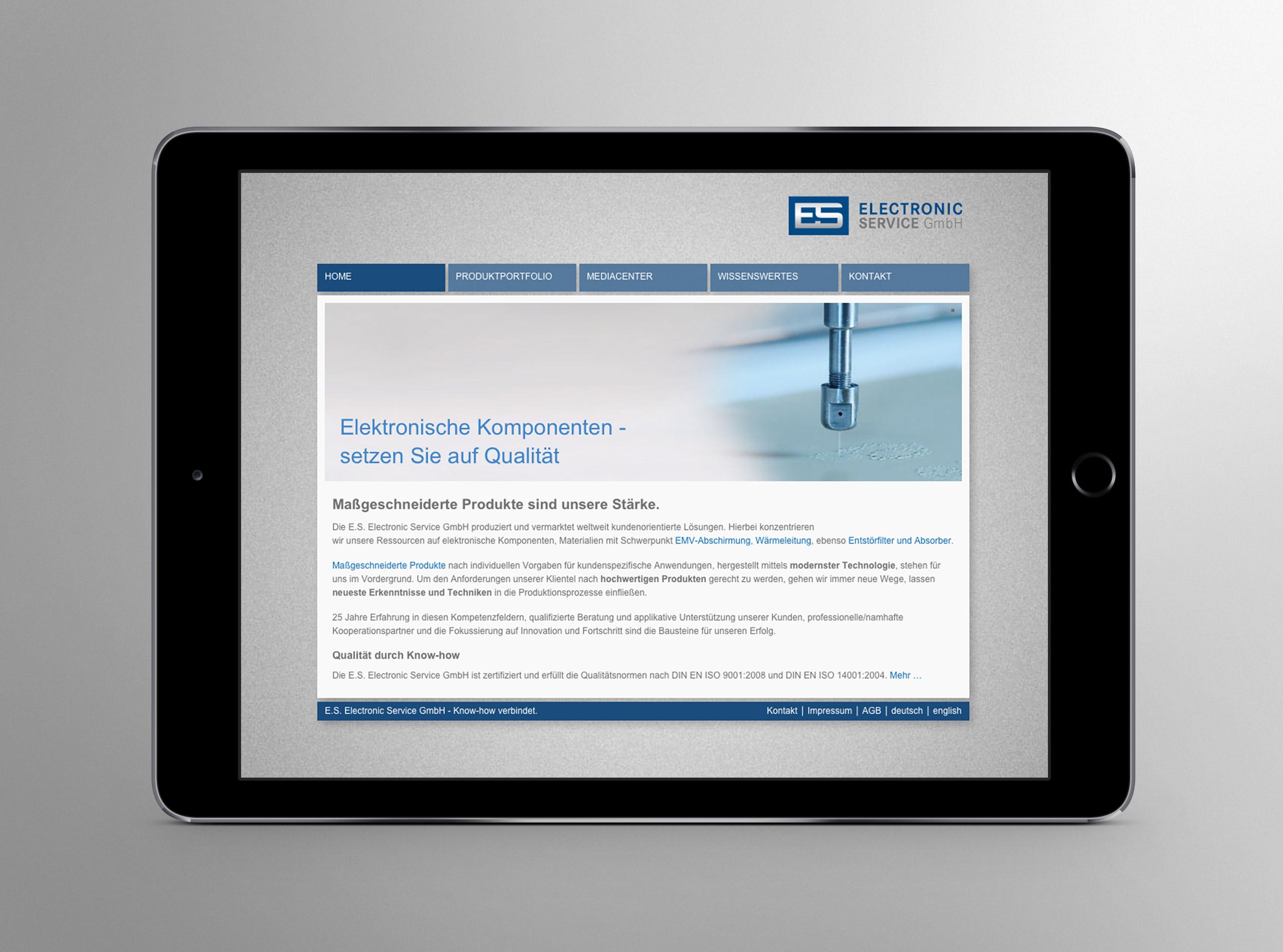 Homepage für die E.S. Electronic Service GmbH 2