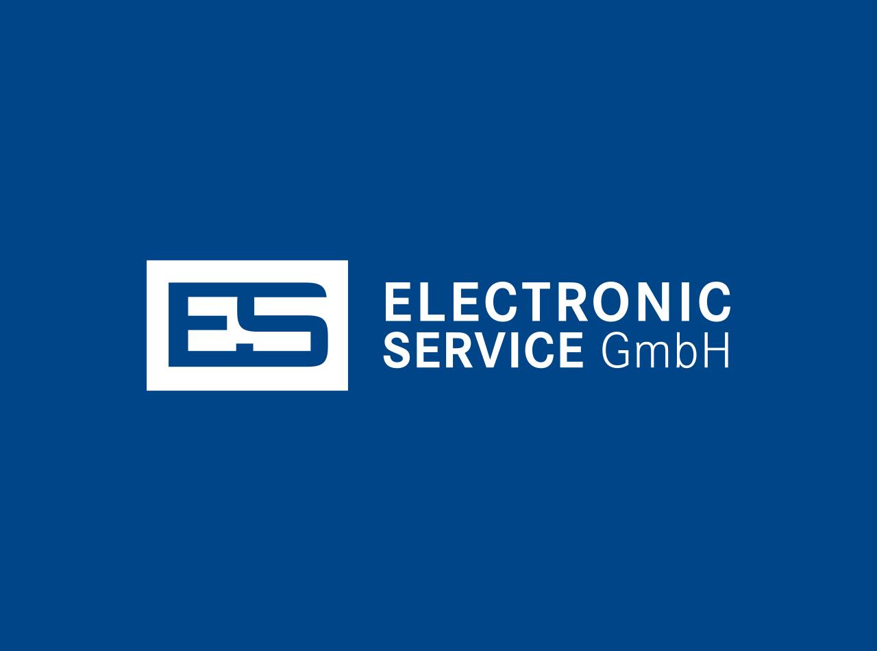 Logo Design für die E.S. Electronic Service GmbH, Logo auf blauem Fond