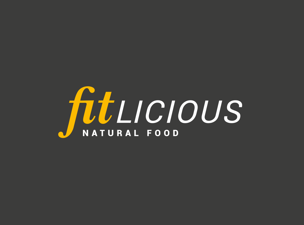 Logo-Design für die fitlicious GmbH & Co. KG, auf dunkelgrauem Fond