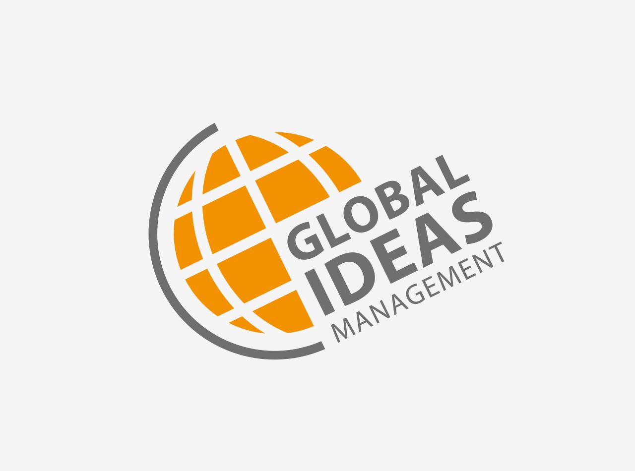 Logo-Design für Global Ideas Management, Zentrum Ideen Management, auf hellem Hintergrund