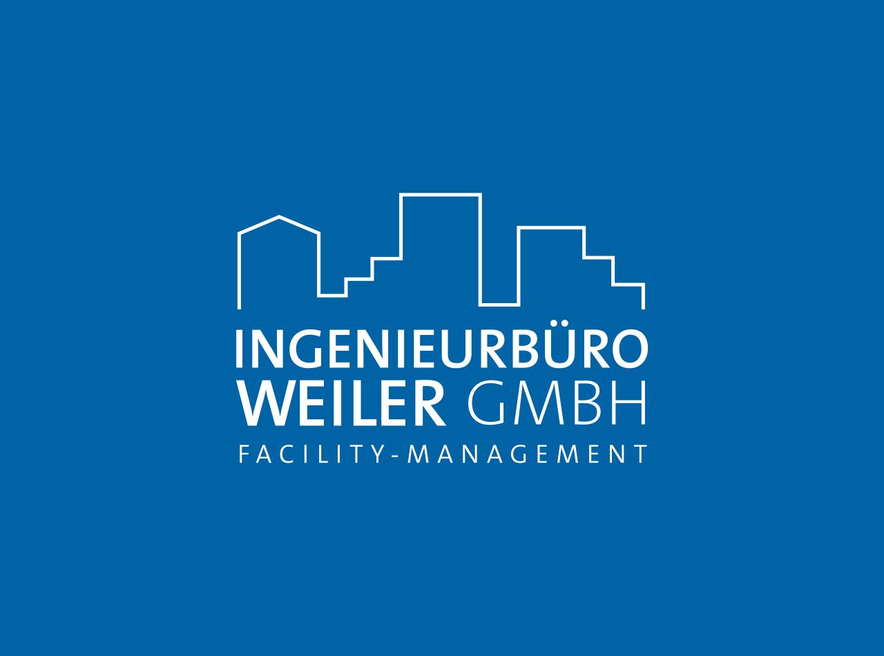 Logo Design für die Ingenieurbüro Weiler GmbH Facility-Management, Logo auf blauem Fond