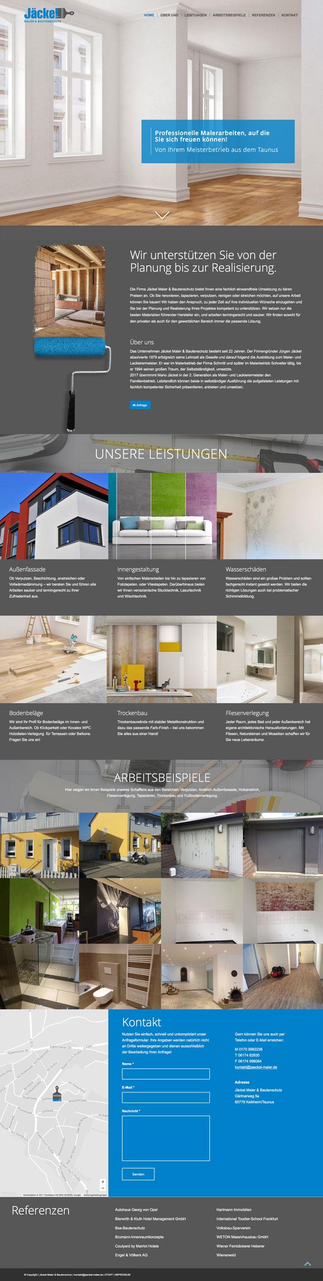 Responsive Webdesign Onepager für den Malerbetrieb Jäckel Maler & Bautenschutz im Taunus