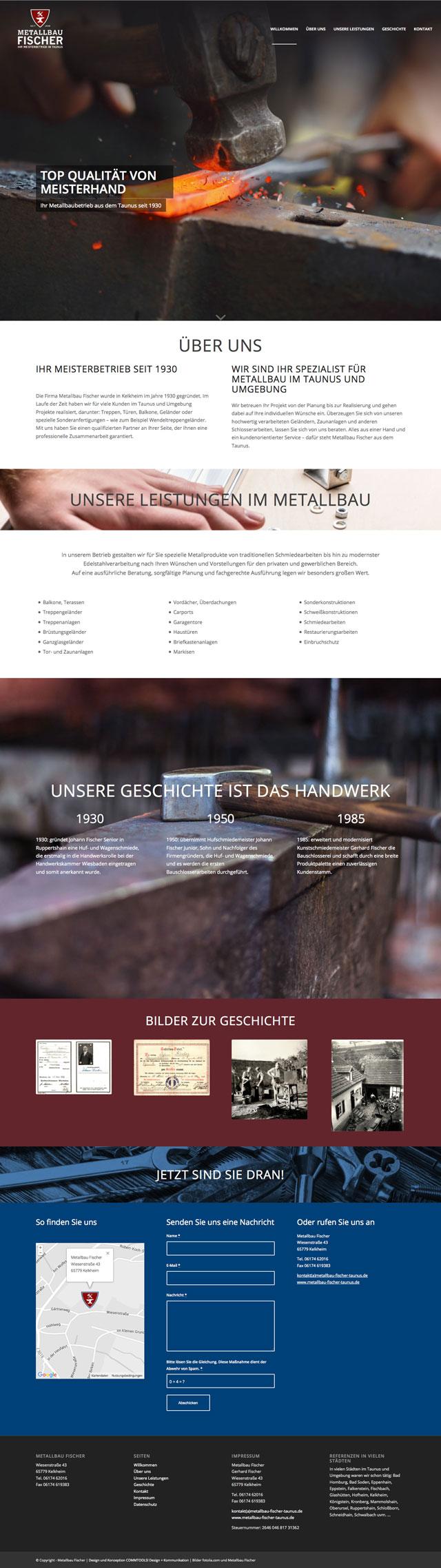 Responsive Homepage, Seitenübersicht Onepager für Metallbau Fischer 1