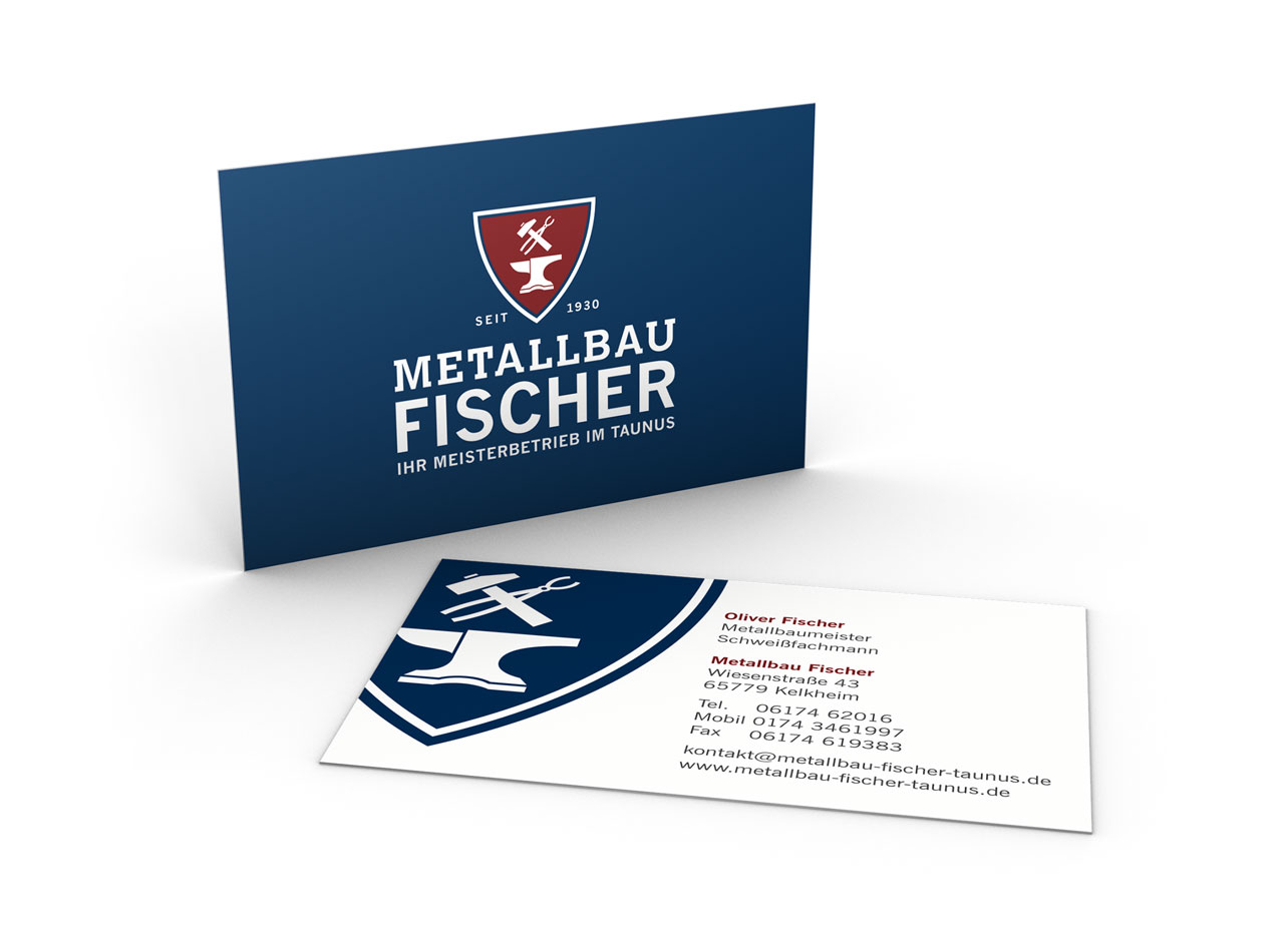 Visitenkarten doppelseitig für Metallbau Fischer