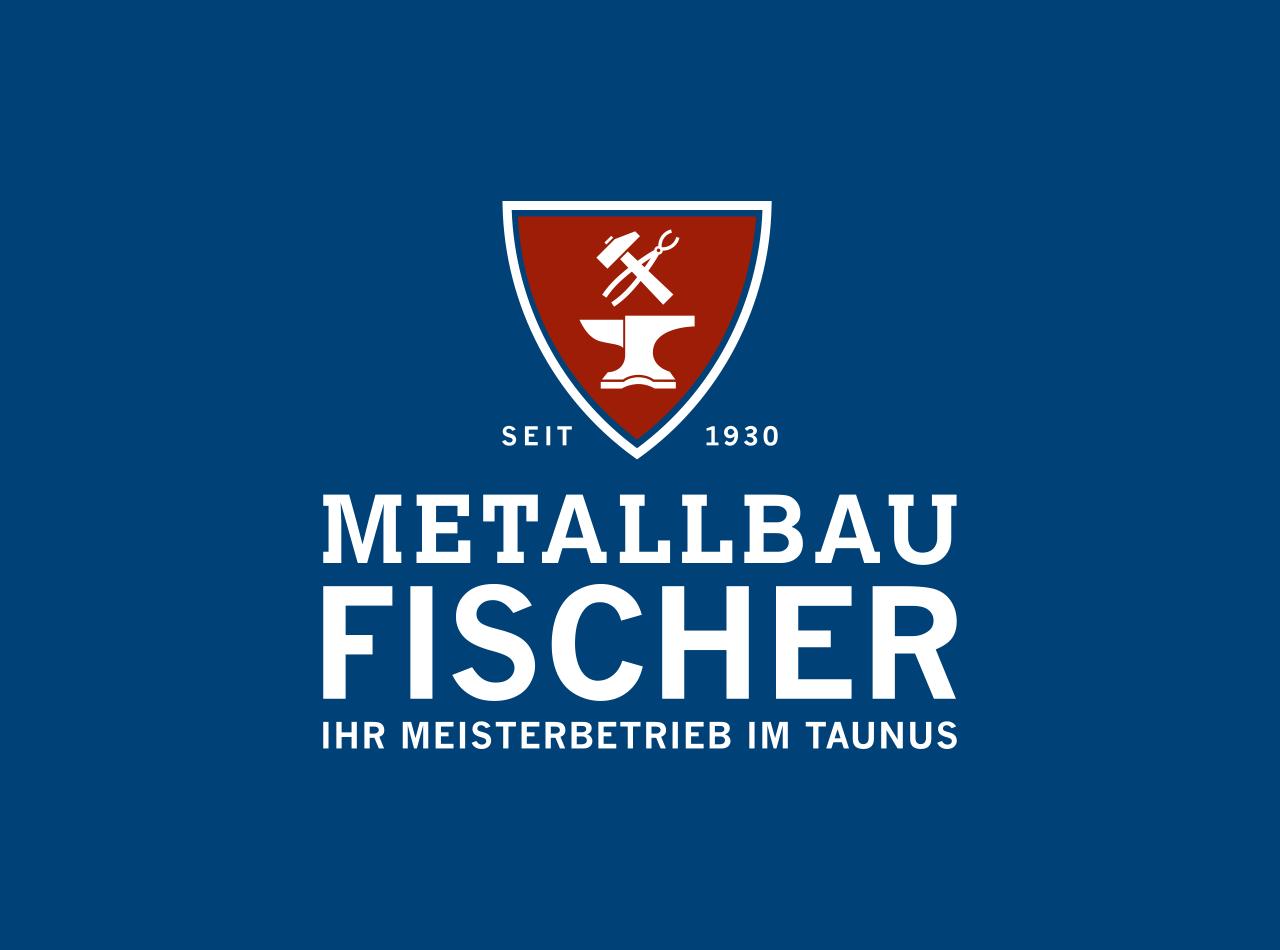 Logo Design für Metallbau Fischer, Logo auf blauem Hintergrund