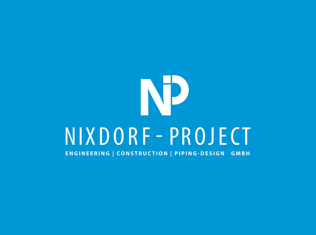 Logo Design für Nixdorf - Project GmbH, Logo auf hellblauem Hintergrund