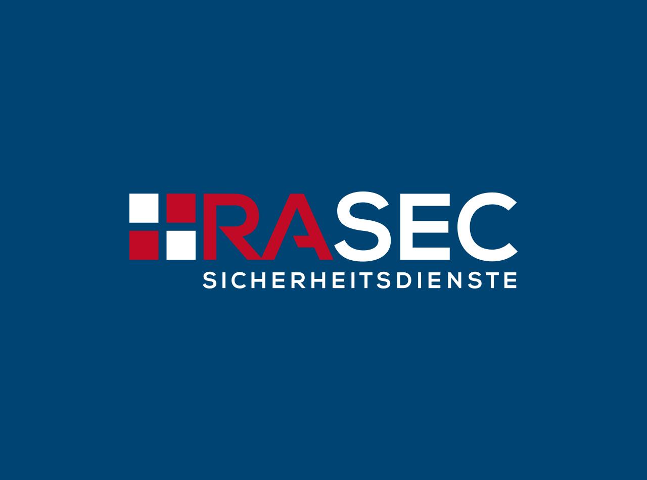 Logodesign für den Sicherheitsdienst RASEC, auf blauem Hintergrund