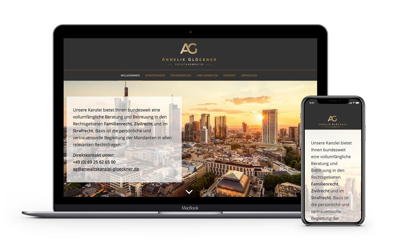 Responsive Webdesign für Anwaltskanzlei Annelie Glöckner