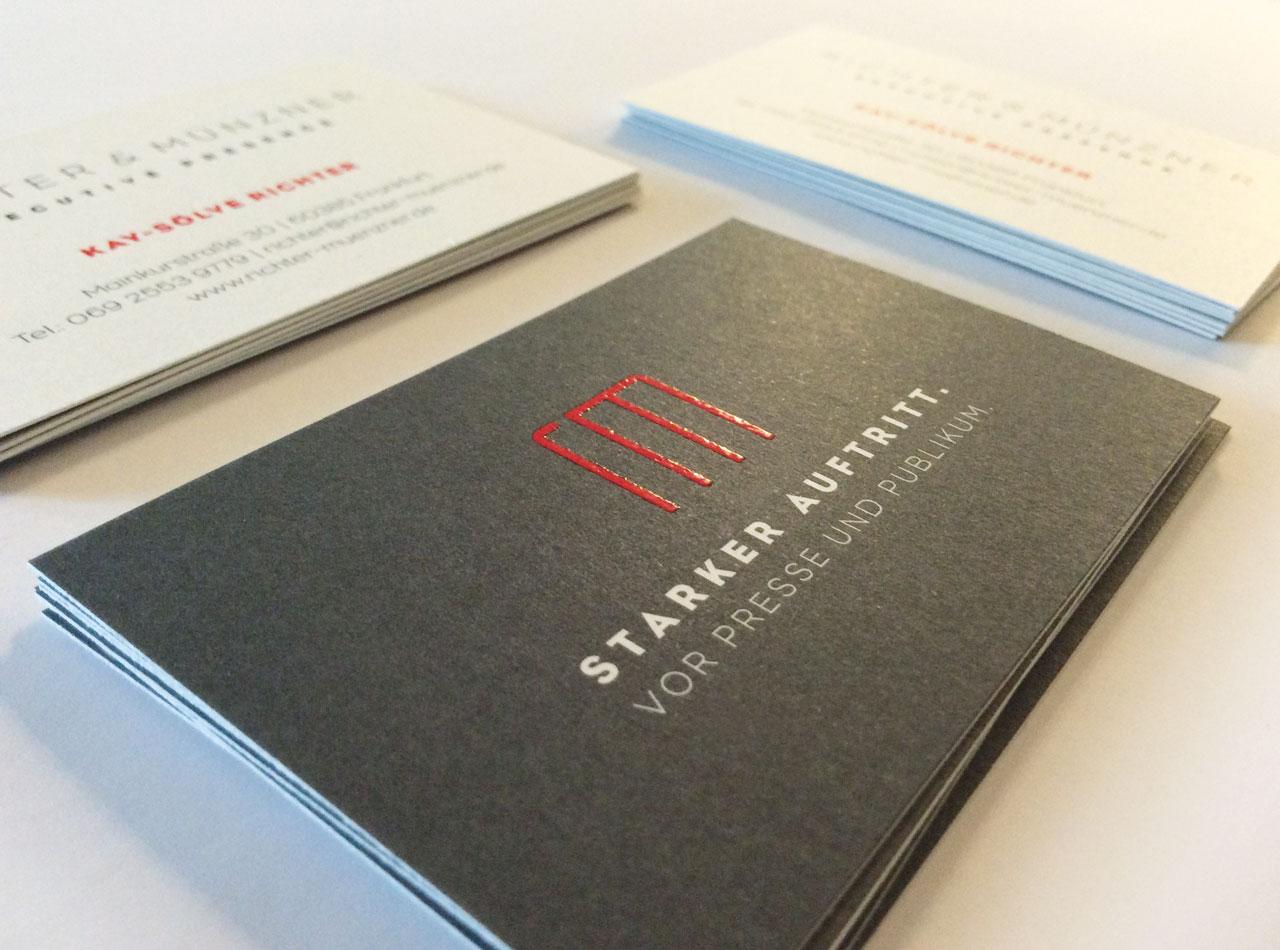 Visitenkarten mit Relieflack für Richter & Münzner 1