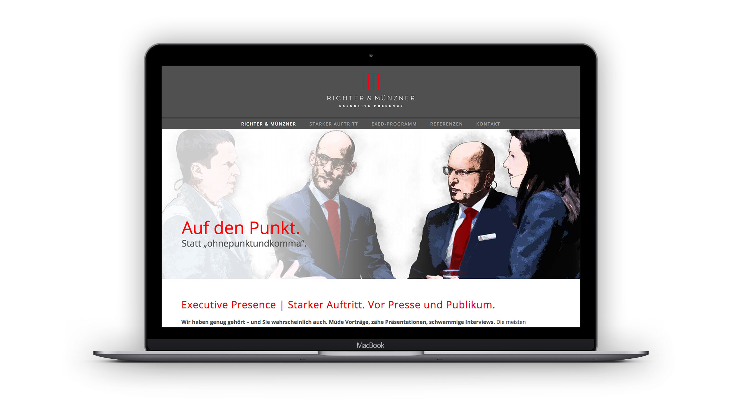Responsive Homepage, Desktopversion für Richter & Münzner 3