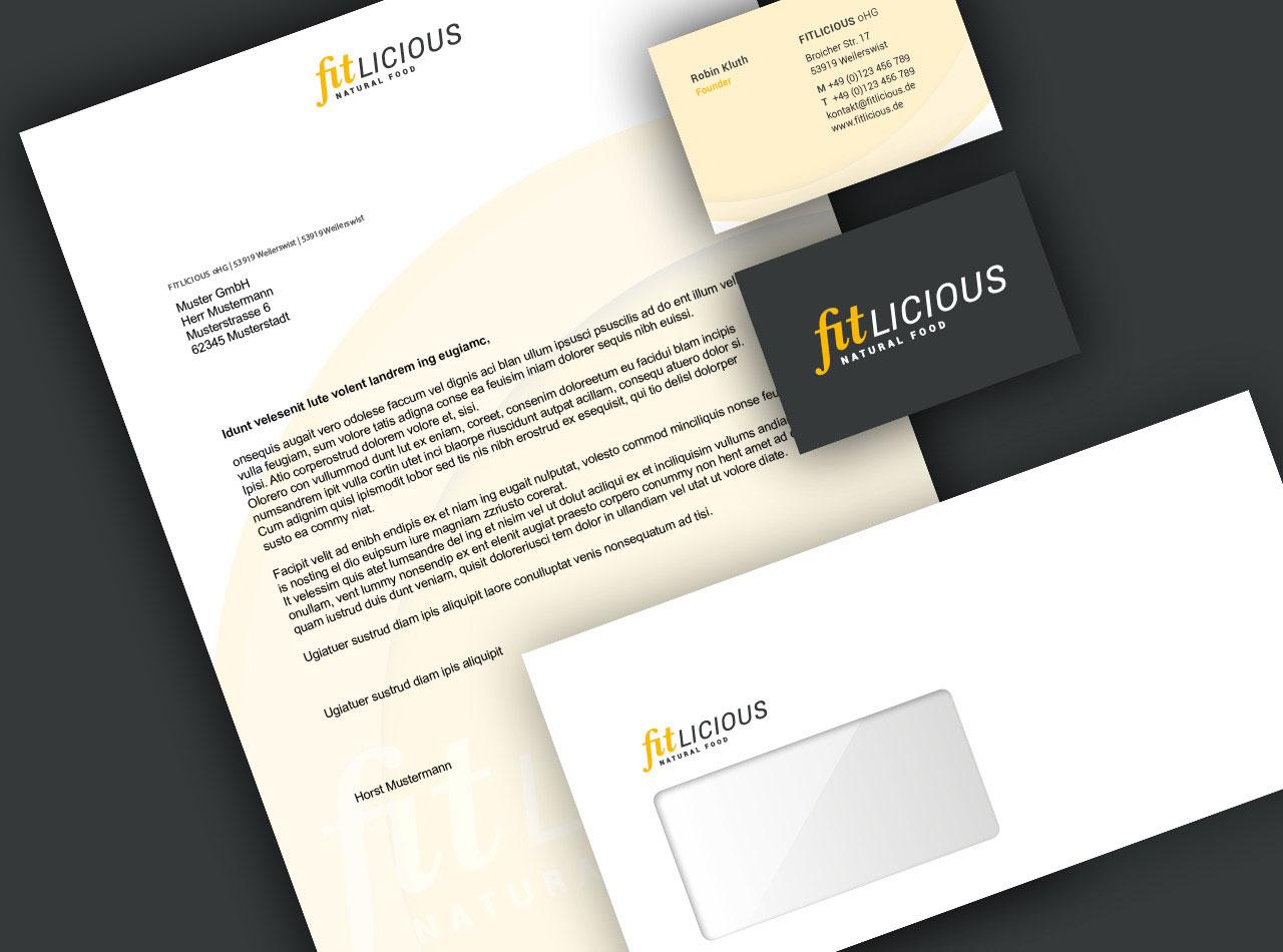 fitlicious Geschäftsausstattung mit Briefpapier, Visitenkarten und Versandumschlag