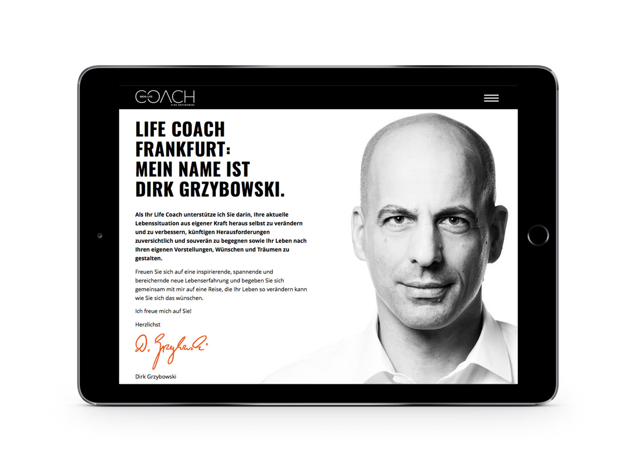 Responsive Homepage für Personal Coach 2