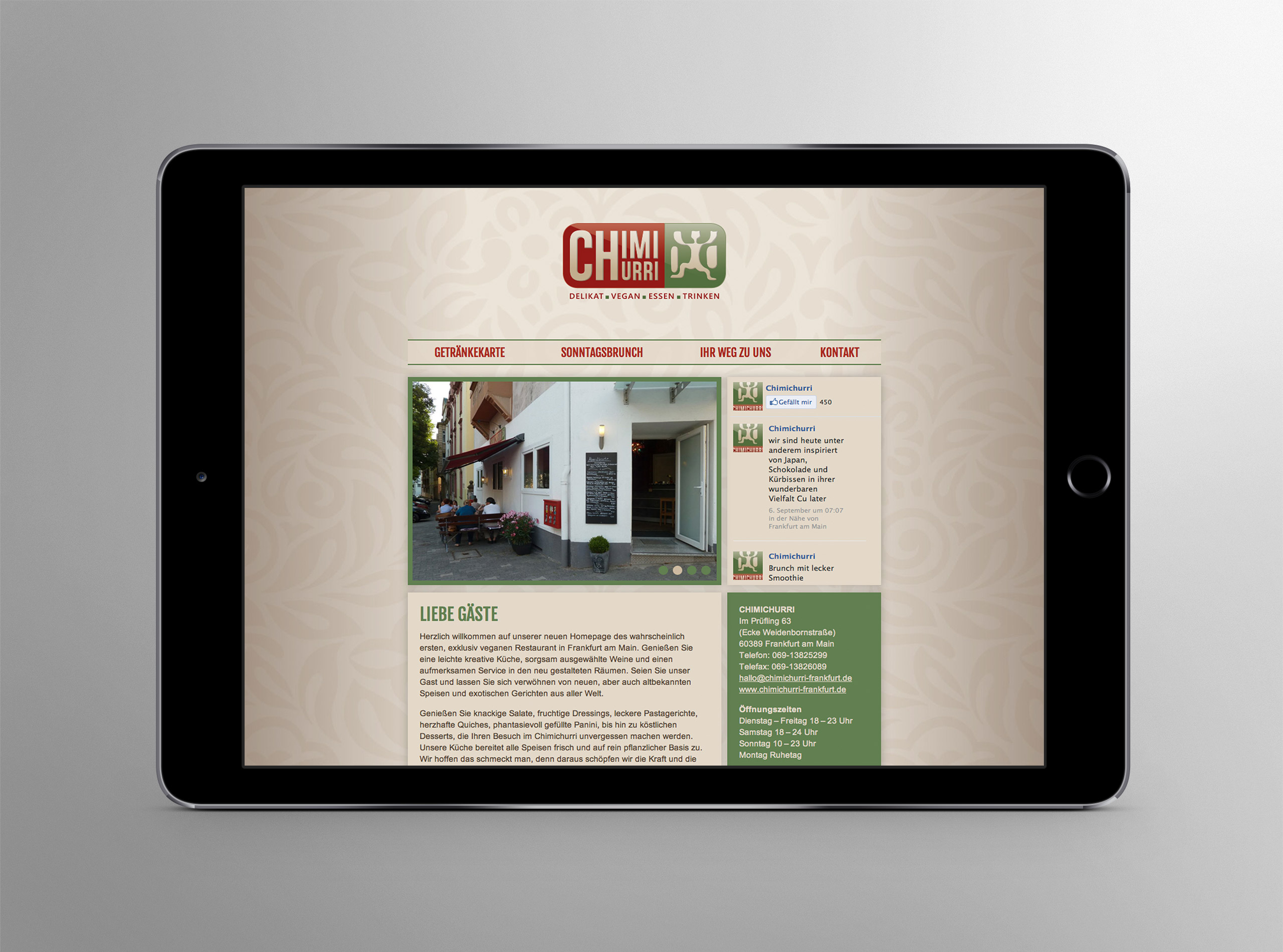 CHIMICHURRI veganes Restaurant Homepage