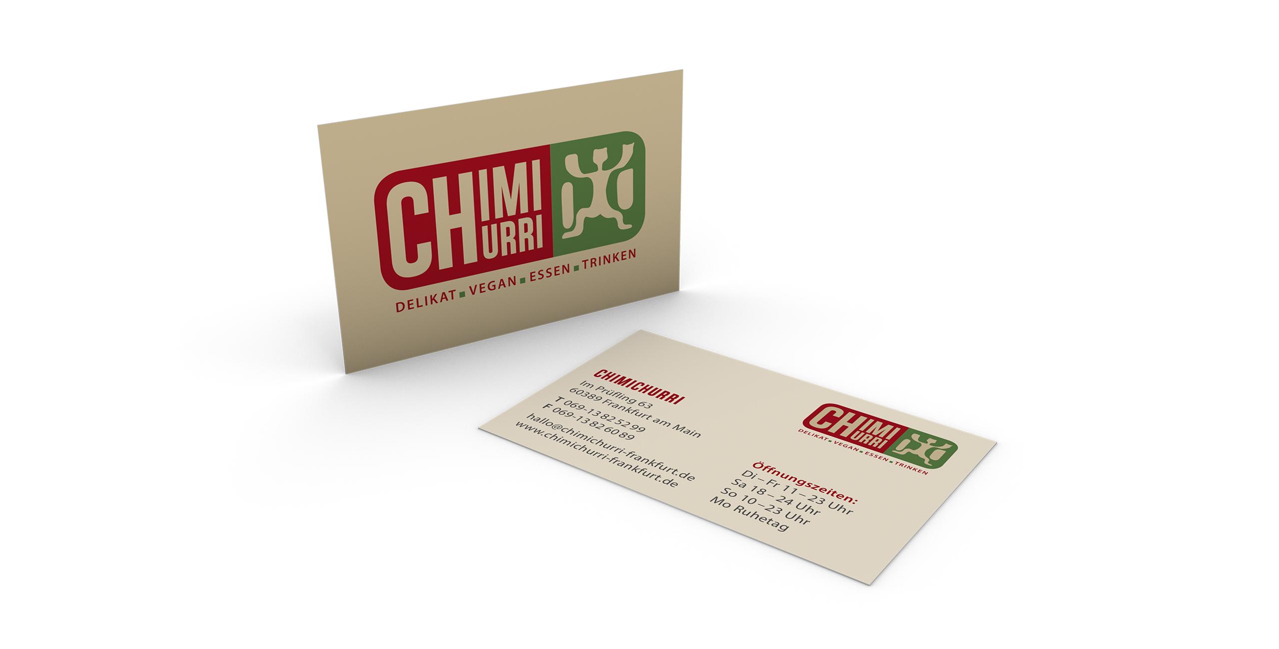 CHIMICHURRI veganes Restaurant Visitenkarten