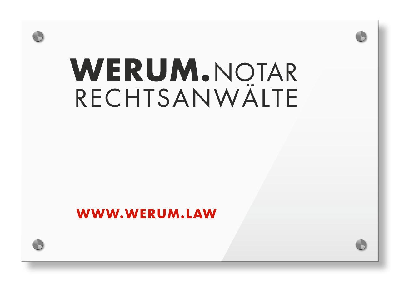 Beschilderung für WERUM Rechtsanwälte und Notar