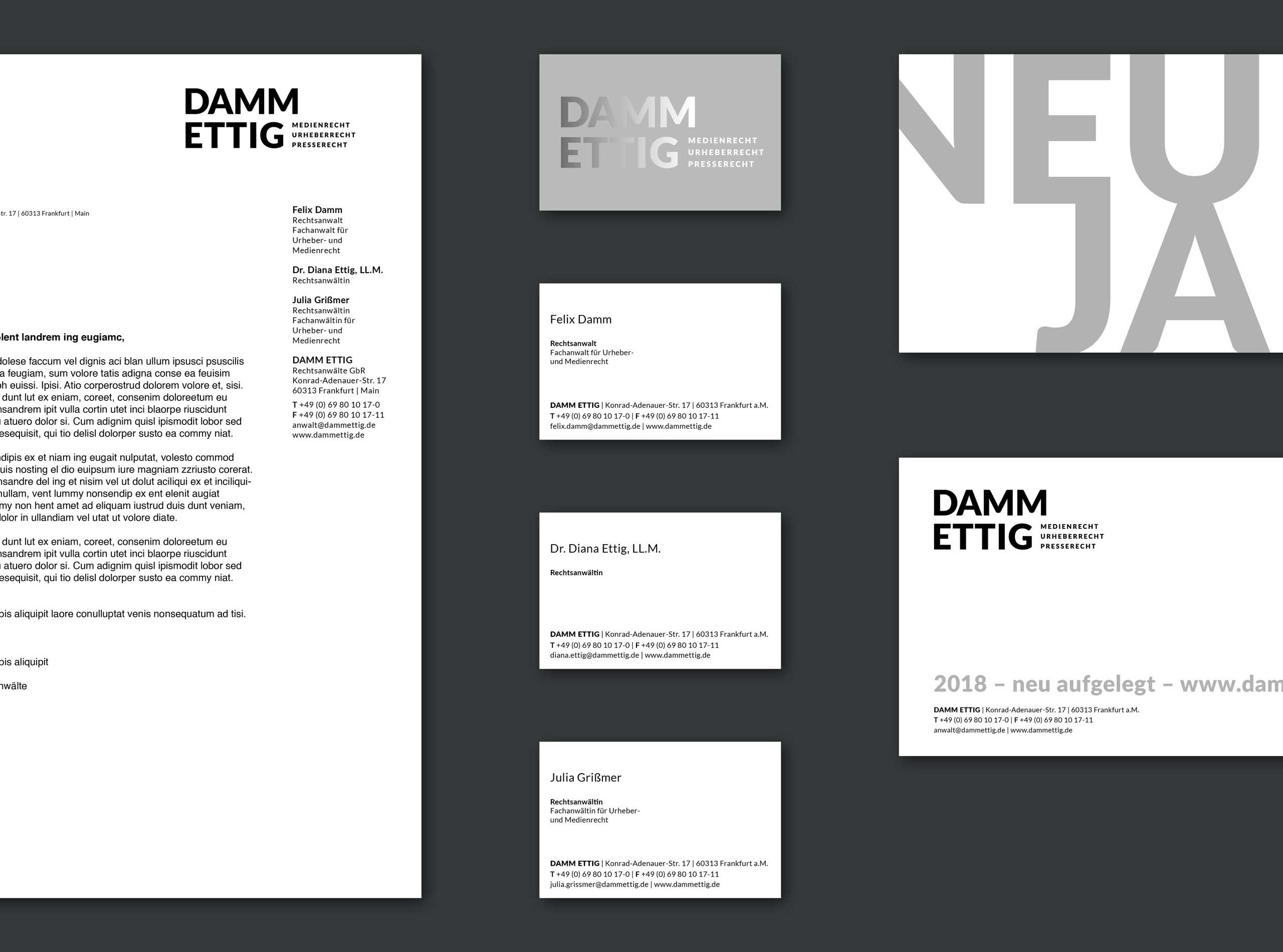 Corporate Design für DAMM ETTIG Rechtsanwälte