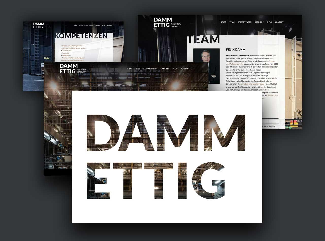 Webdesign Homepage für DAMM ETTIG Rechtsanwälte
