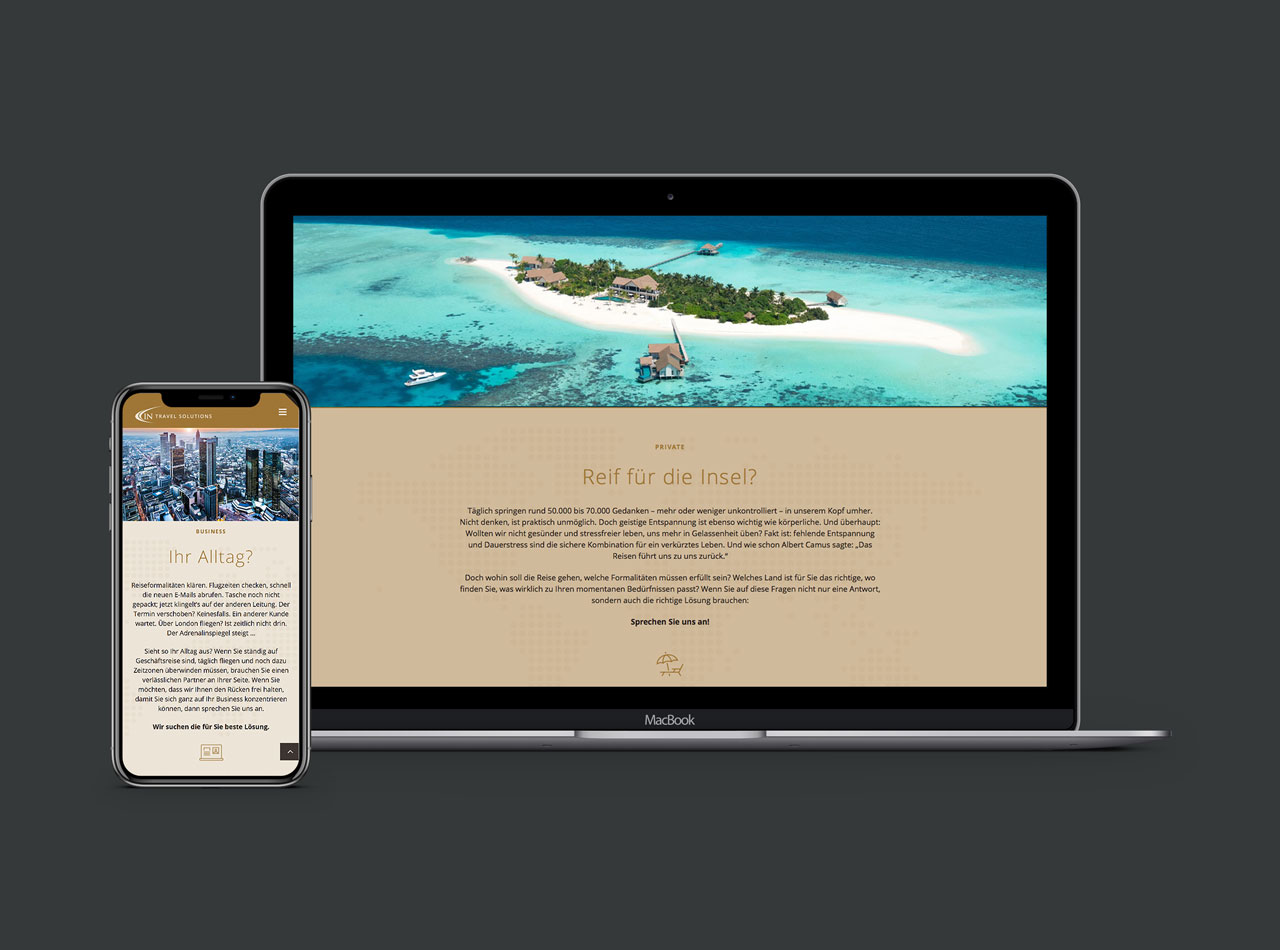 IN Travel Solutions Reisebuero Homepage Webdesign