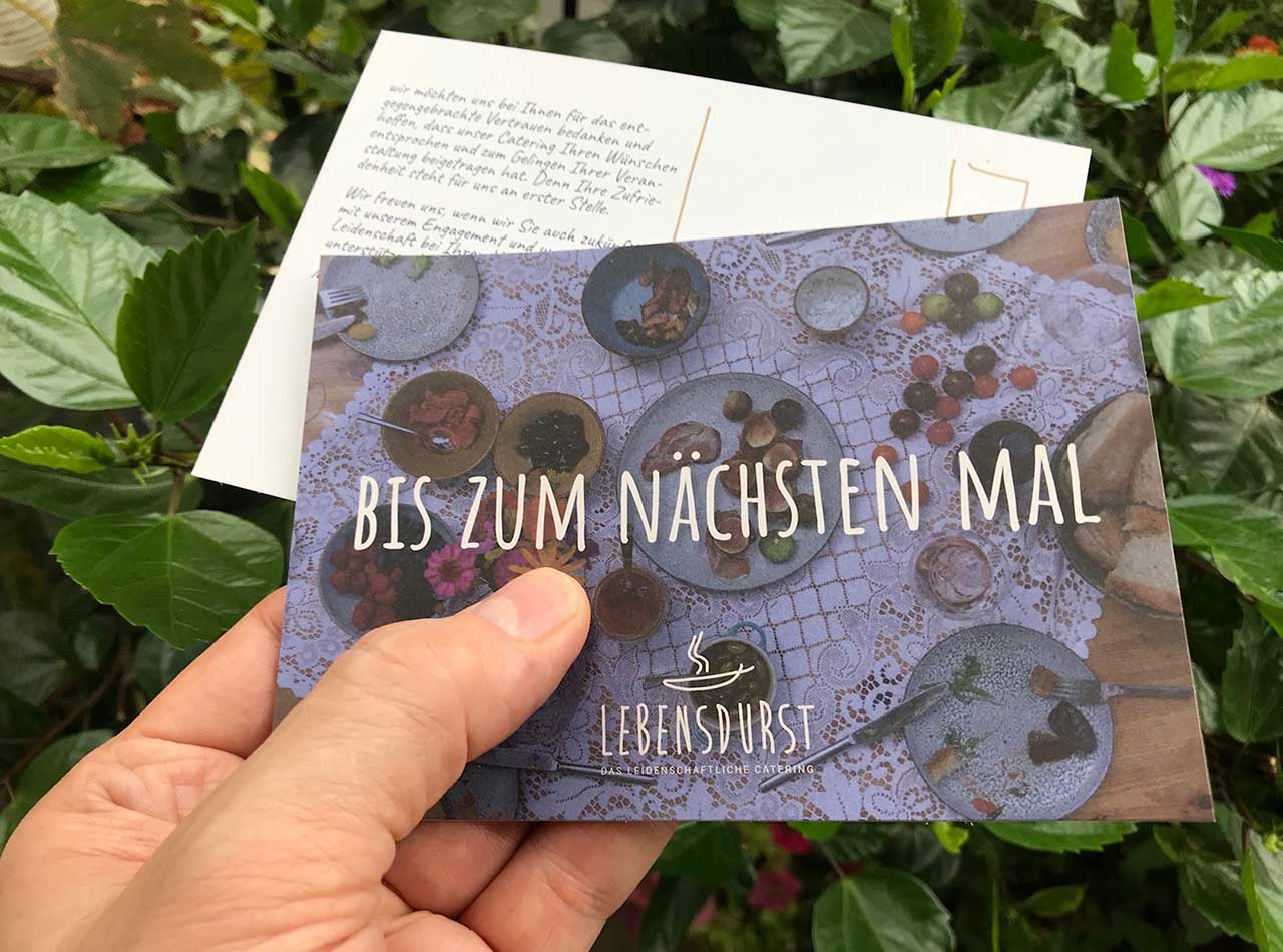 Lebensdurst Catering Postkarte