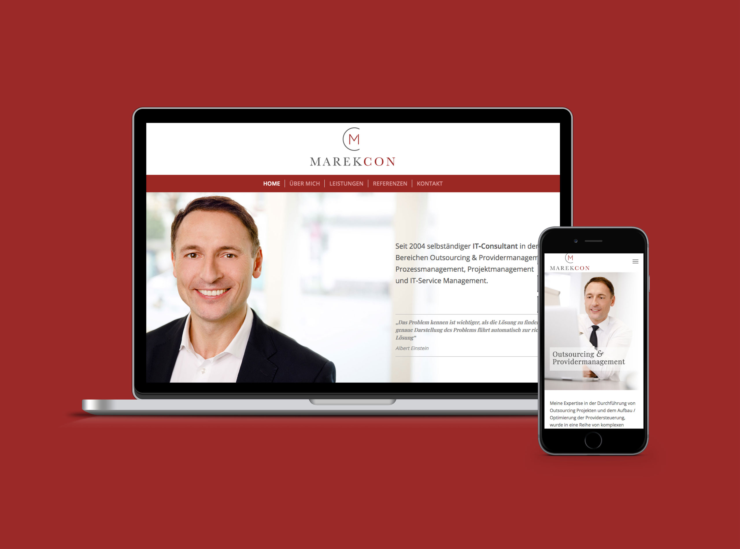 Homepage für IT-Berater, Startseite