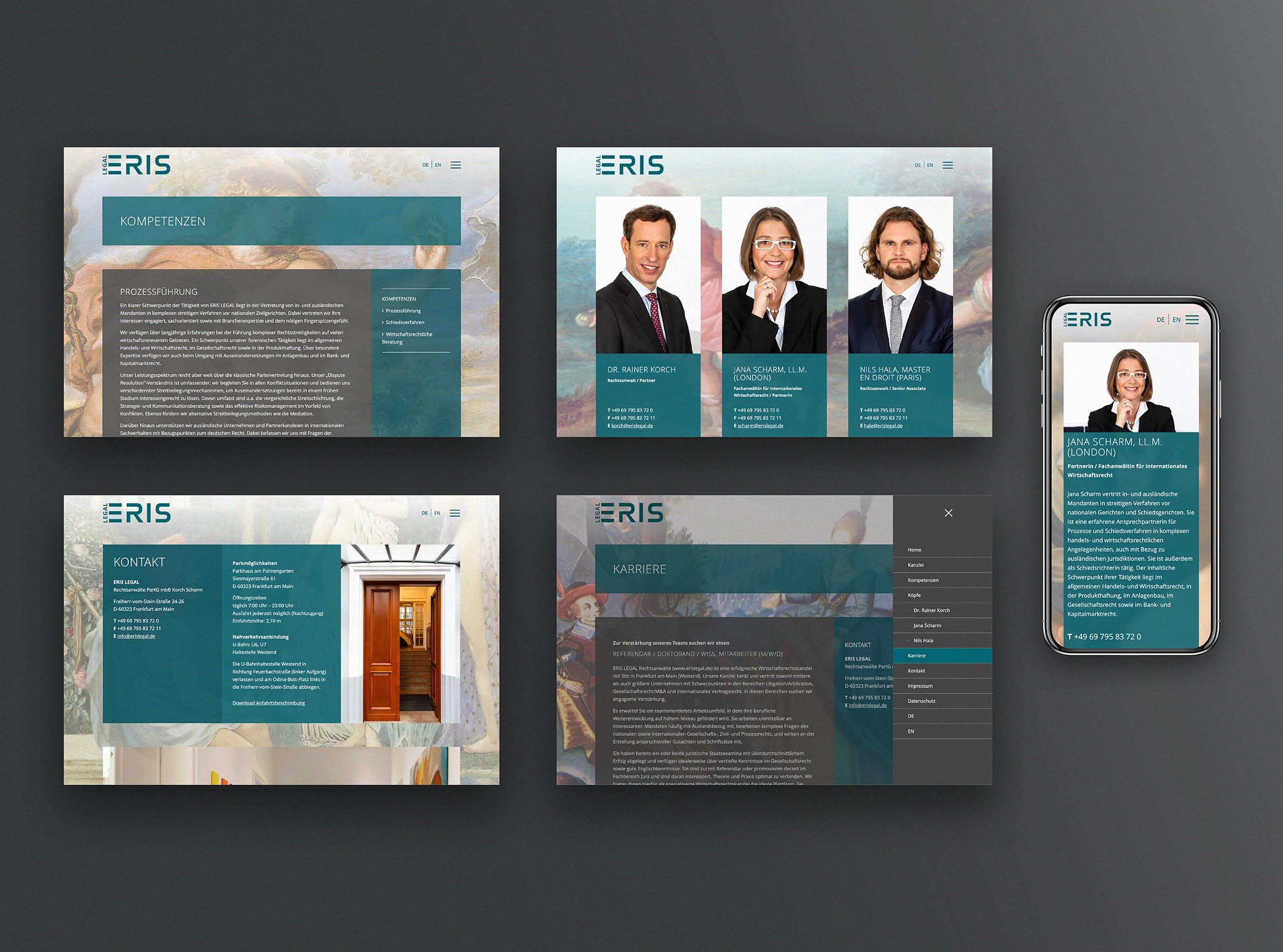 Wirtschaftskanzlei und Rechtsanwalt Homepage, responsive Webdesign in Wordpress
